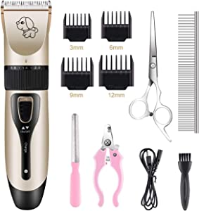 Happy & Polly Dog Clippers Electric Grooming Kit Rechargeable Cordless Pet Clippers Set for Cats Dogs