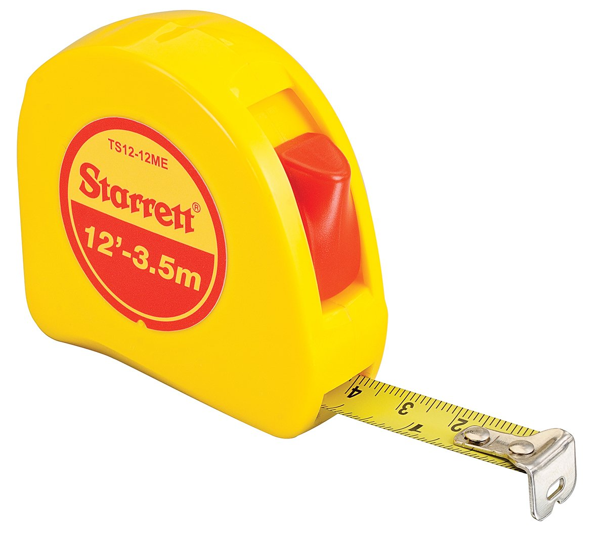 "Starrett KTS12-12ME-N ABS Plastic Case Yellow Measuring Pocket Tape, English/Metric Graduation Style, 12' (3.5m) Length, 0.5"" (12.7mm) Width, 0.0625"" Graduation Interval"