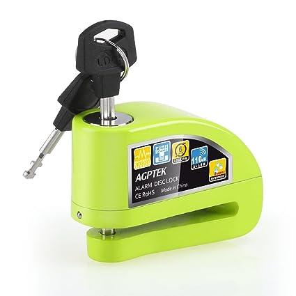 Candado de Disco Moto para con Alarma Antirrobo 110dB, AGPTEK S5 Candado Bloqueo Aluminio para Moto, Motocicleta, Scooter-Verde