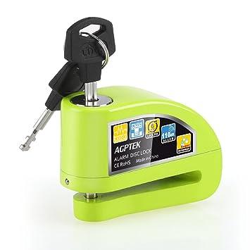 Candado de Disco Moto para con Alarma Antirrobo 110dB, AGPTEK S5 Candado Bloqueo Aluminio para