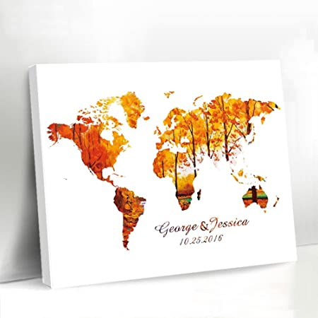 World map wedding guest book canvas fall printed wedding guest book world map wedding guest book canvas fall printed wedding guest book personalised name and date wedding gumiabroncs Images