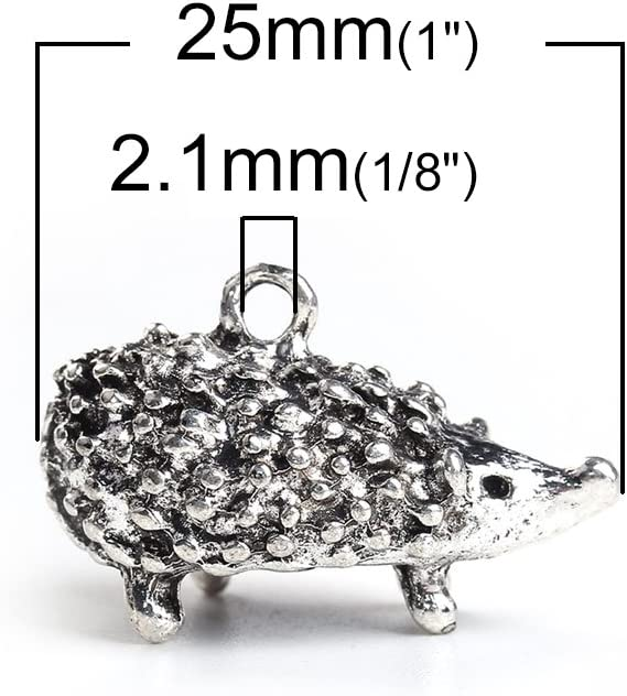 SiAura Material Pendentif en Forme de h/érisson en Argent Vieilli 16 x 25 mm Taille du Trou 2,1 mm /Épaisseur 13,4 mm