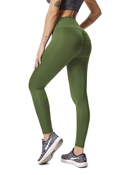 c0831bc56dd1bc Amazon.com: RIOJOY Yoga Pants for Women Ruched Butt Compression Fitness  Leggings Butt Lift High Waist Stretchy Workout Running Tights: Clothing