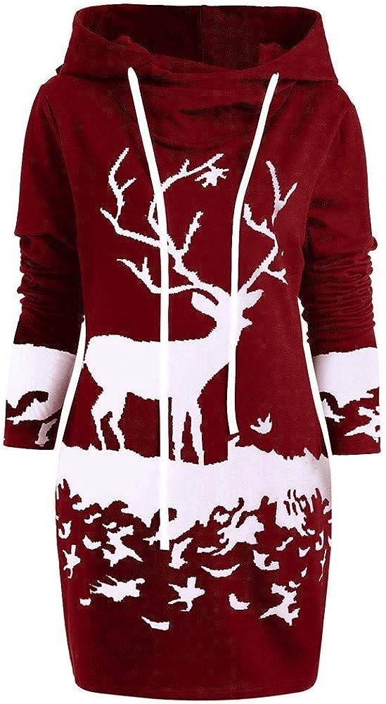 Robe de Cocktail Loose T-Shirts Tops,Covermason Femmes Mini-Robe Pull Tee Shirt Robe de Soiree Femme Monochrome Renne Imprim/é Robe Pull Femme Robe Hiver