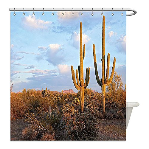 My Jeff Hardy Costume (Liguo88 Custom Waterproof Bathroom Shower Curtain Polyester Saguaro Cactus Decor Collection Saguaros at Sunset Prickly Pear Cactus Hardy Plants Under Summer Sky Clouds Picture Blue Olive Decorative b)