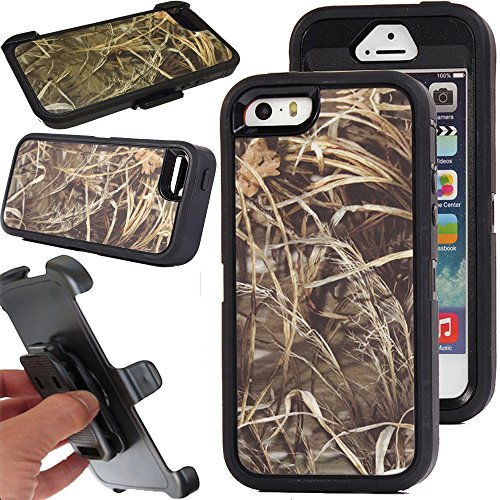 For iPhone 5/5s Case, Kecko® Heavy Duty Shockproof Military Grade Scratch Resistant Hybrid Bumper Full Body Protective Case with Belt Clip Holster and Built-in Screen Protector (Grass Black)