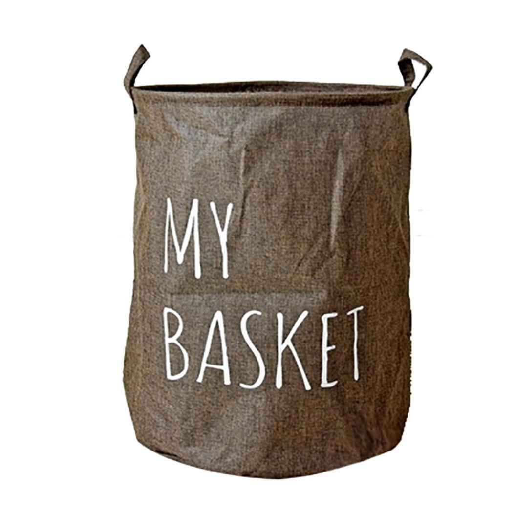 goddessvanコットン防水PEコーティングストレージバスケットSundriesストレージボックスランドリーバスケット グレイ B079QLGVYC ブラウン