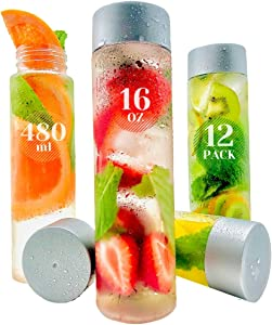 12 Pack 16oz Plastic Water Bottles With Caps: Empty Large Mouth PET Juice Bottles, Prime for Smoothies, Beverages, Tea, Crafts, Storage, Eco-Friendly, BPA-Free, Reusable/Disposable