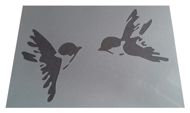 Rustikal Mylar Vintage Stil A4/297/x 210/mm Art Wand Shabby Chic Schablone Schwalben 2/Designs auf Bogen des2
