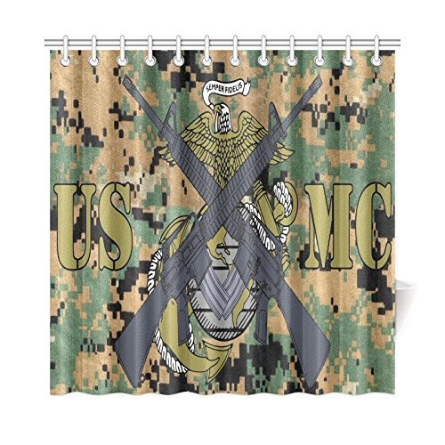 Christmas/Thanksgiving Gifts USMC United States Marine Corps Marines Semper Fi Waterproof Bathroom decor Fabric Shower Curtain Polyester 72 x 72 inches
