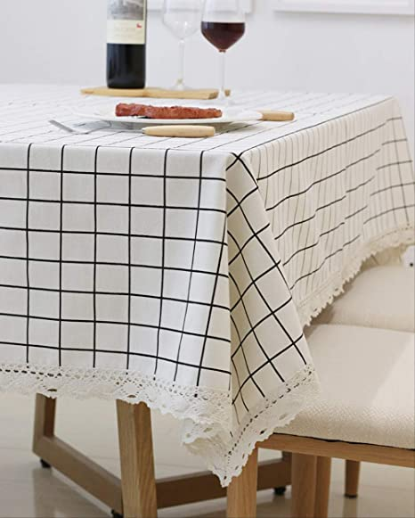 70-86 Inch Tassel Embroidered Cotton TableCloth Rectangular Table Cover Mat p6