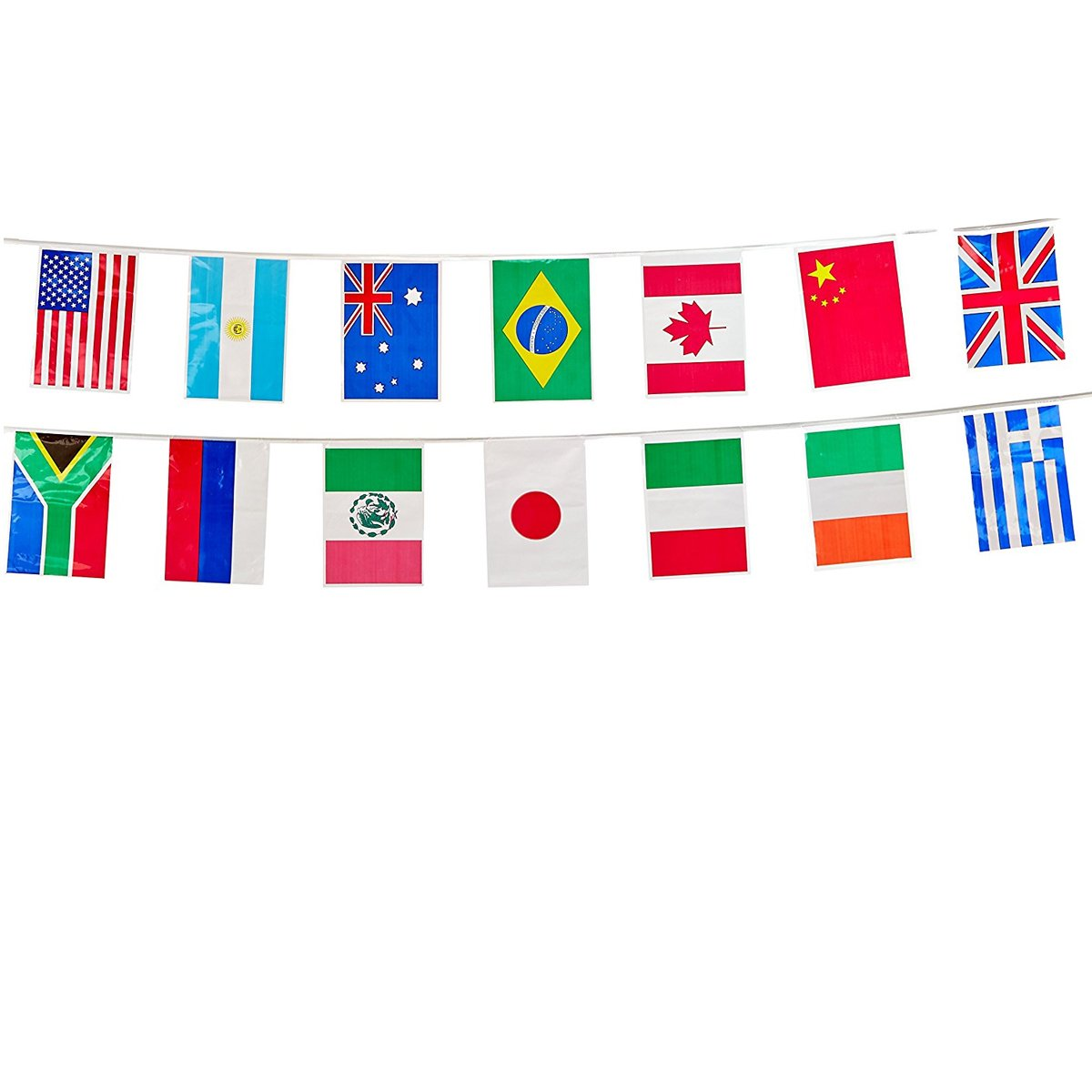 23 ft Pennant Flag Banner and Countries of The World Trivia Questions International Party Supplies International Flags Party Decorations Toothpick Flags 50 International Flags Tablecover