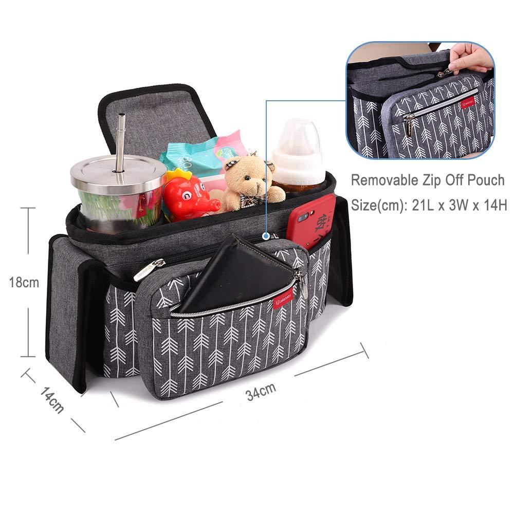 Lekebaby Kinderwagen Organizer Universal mit Isolierten Getr/änkehalter//Becherhalter Grau