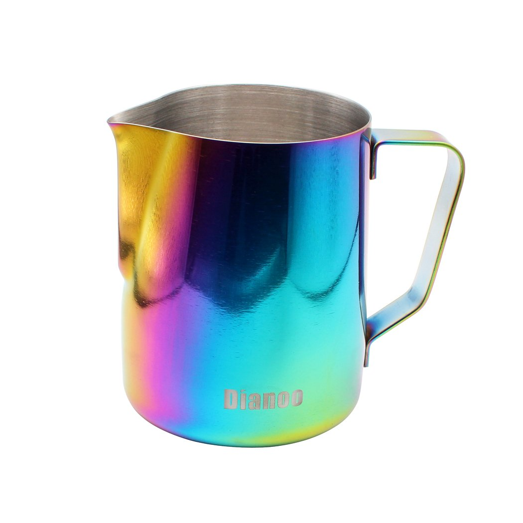 Dianoo Milk Pitcher, Stainless Steel Milk Cup, Good Grip Frothing Pitcher, Coffee Pitcher, Espresso Machines, Milk Frother & Latte Art, 1PCS (350 ML) - Multicolor worth2buy