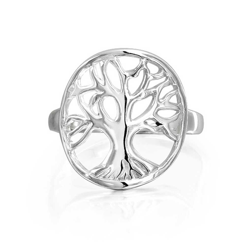 Round Open Celtic Tree of Life Sterling Silver Ring Bling Jewelry PFS-11-3606