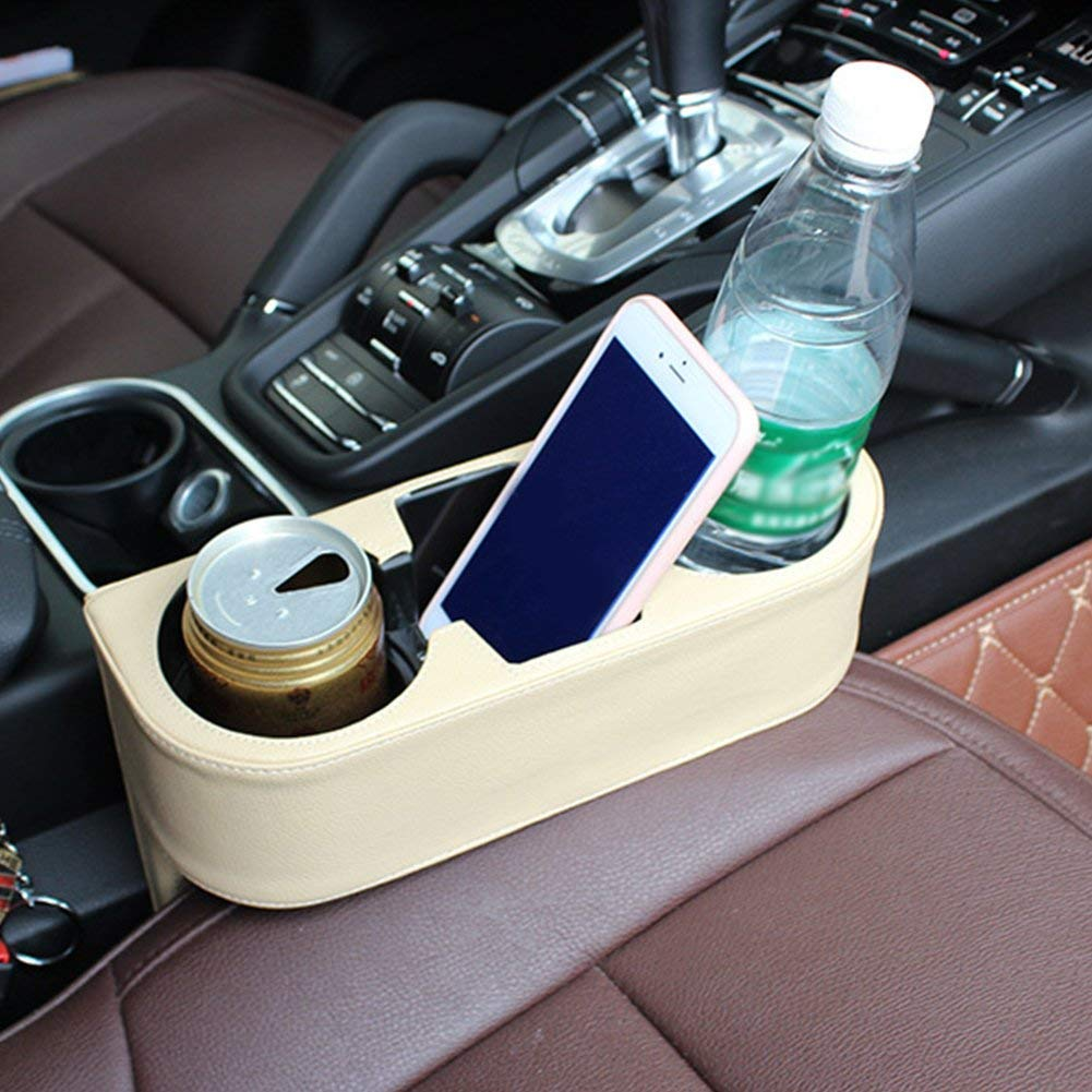 Cream-colored Vehicle Drink Cup Holder,Truck Car Seat Wedge Cup Holder Valet Beverage Can Bottle Cell Phone Stand Storage Box