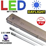 4FT TWIN LED 2 X 18W - NON CORROSIVE WEATHERPROOF FLUORESCENT LIGHT FITTING - IP65 - ENERGY EFFICIENT OUTDOOR STRIP LIGHT - IDEAL FOR GARAGES, WORKSHOP, SHEDS, GREENHOUSES OR COMMERCIAL APPLICATIONS - STURDY CONSTRUCTION - POLYCARBONATE DIFFUSER - BRANDED - 3 YEAR LAMP GUARANTEE - INCLUDES LED TUBE 2 x 18 WATT - DAYLIGHT 6000K COLOUR OUTPUT