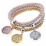 Yntmerry hot ladies bracelet fashion exquisite elastic corn chain tricolor hollow round alloy bracelet wholesale