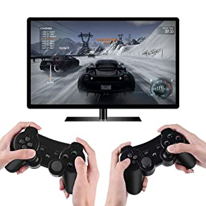 Wireless Controllers for PS3 Playstation 3 Dual Shock, Bluetooth Remote Joystick Gamepad for Six-axis with Charging Cable,Pack of 2 (ClearRed and CLearBlue1) (Color: ClearRed and ClearBlue)