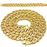 "Mens Iced Out Hip Hop Gold tone CZ Miami Cuban Link Chain 8"", 9"", 20"", 24"", 30"", 36"" Necklace Bracelet"