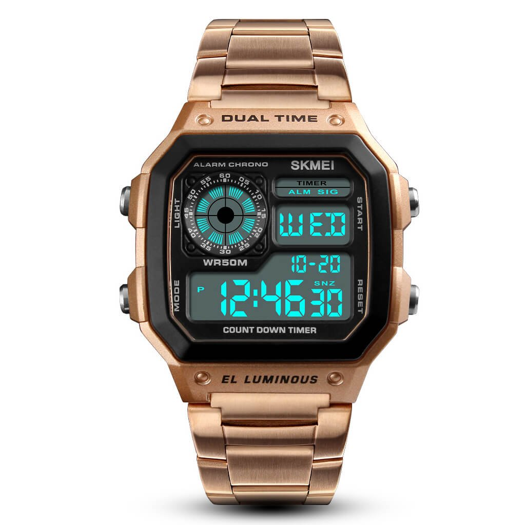 Relojes de acero inoxidable de pulsera, deportivos, para hombre, impermeables cuenta regresiva de 12/24 horas, con alarma, fecha y pantalla retroiluminada