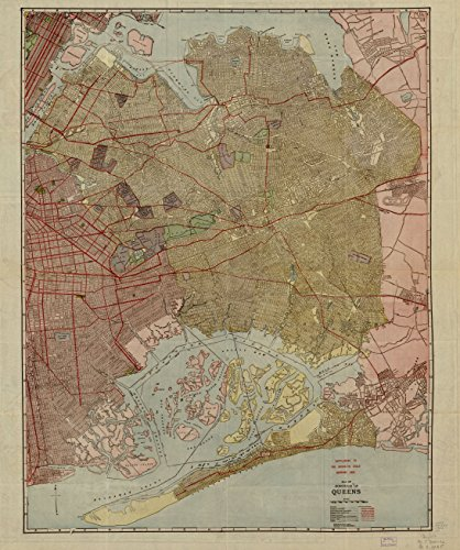 LAMINATED POSTER Map of the borough of Queens. 24 x 36 Poste