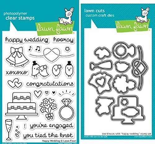 Lawn Fawn Happy Wedding Clear Stamp and Die Set - Includes One Each of LF887 (Stamp) & LF888 (Die) - Bundle Of 2