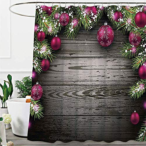 Oobon Shower Curtains, Old Fashioned Concept Twigs and Balls on Rustic Wood Vintage Decor, Fabric Bathroom Decor Set with Hooks, 72 x 72 Inches ()