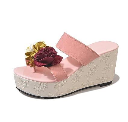 Sandali infradito da donna con plateau e sandali con zeppa rosa Scarpe da  spiaggia estive romane d4663b11325