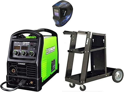 TITANIUM Unlimited 200 Welding Bundle -Professional Multiprocess 120 240 Volt Welder – Welding Helmet – Welding Cart