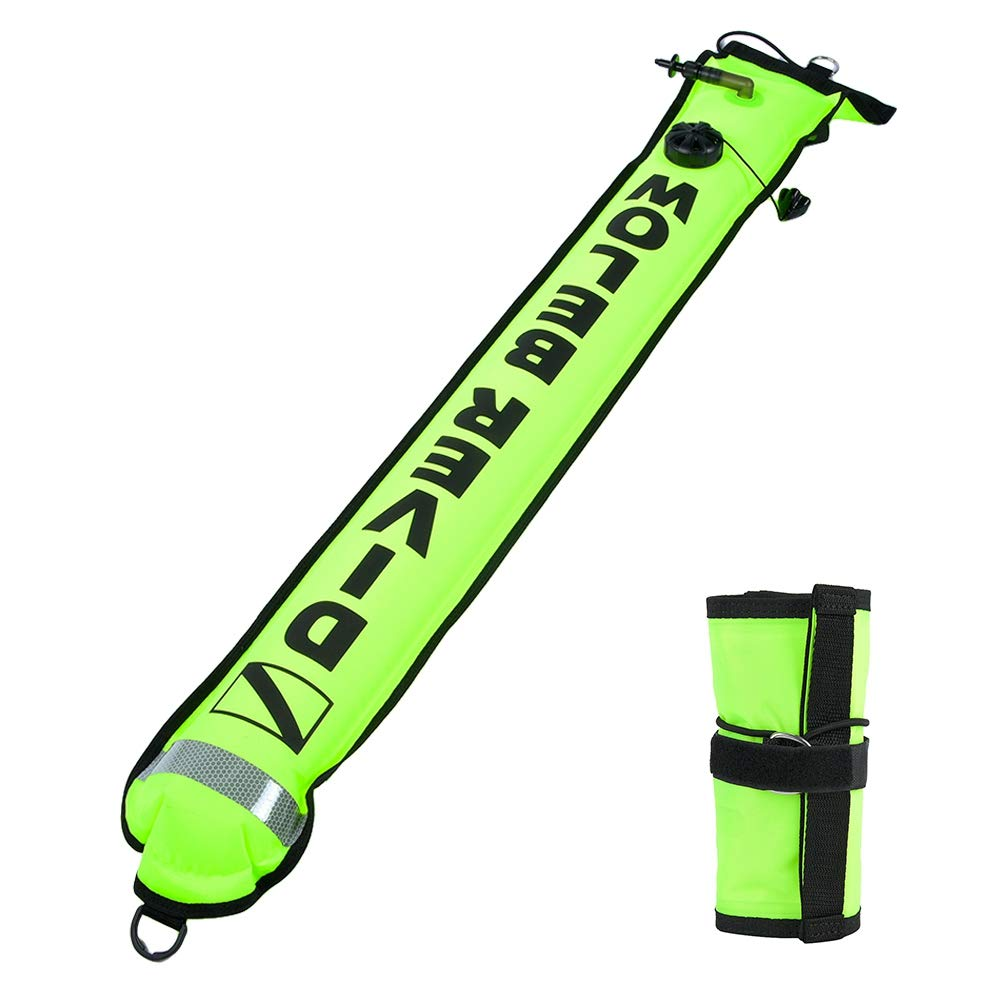 Asixx Diving Marker 4FT High Visibility Inflatable Scuba Diving Marker SMB Surface Signal Marker Buoy for Diving