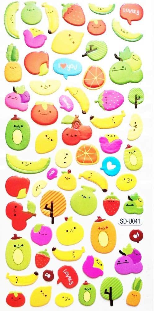 PP Stickers 1 Sheet Cute Fruit Stickers Strawberry Apple Banana Pineapple Grapes Cartoon Kids Foam Stickers Kids Stickers Teacher Baby Gift Reward Stickers Decor Card Diary Album Scrapbooking