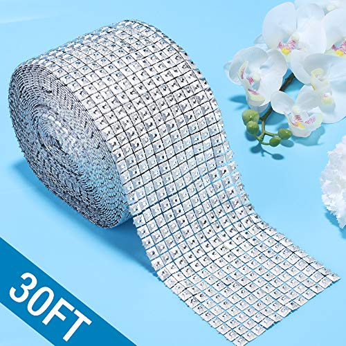 Silver Diamond Flower Shape Mesh Wrap Roll Faux Rhinestone Crystal Ribbon for Event Decorations, Wedding Cake, Bridal & Party Decorations Acrylic Bling Rhinestone Roll (1 Roll, 12 Row,30 ft) (Square)
