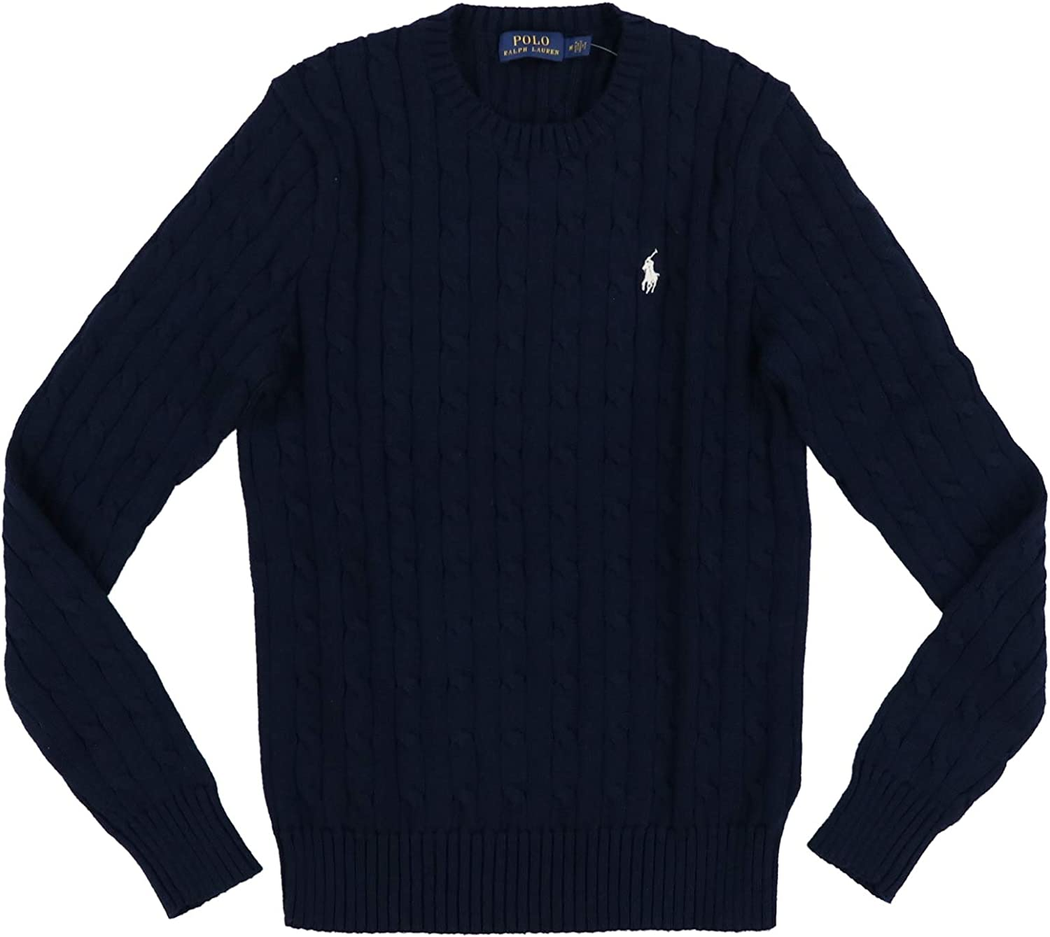 Polo Ralph Lauren Womens Cable Knit Crew Neck Sweater (X-Large, PRL Navy)