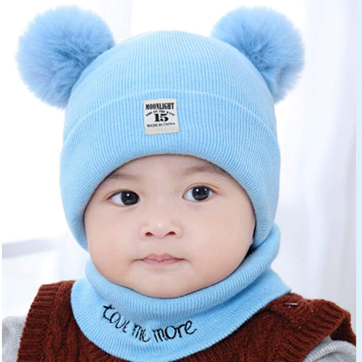 2Pcs Beanie Cap with Circle Loop Scarf Neckwarmer Knit Hat Scarf Winter Warm for Infant Babies