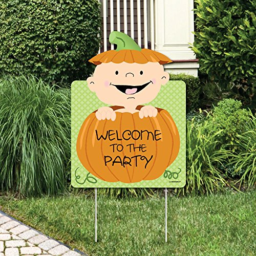 Big Dot of Happiness Little Pumpkin Caucasian - Party Decorations - Baby Shower or Birthday Party Welcome Yard Sign - Little Pumpkin Baby Shower