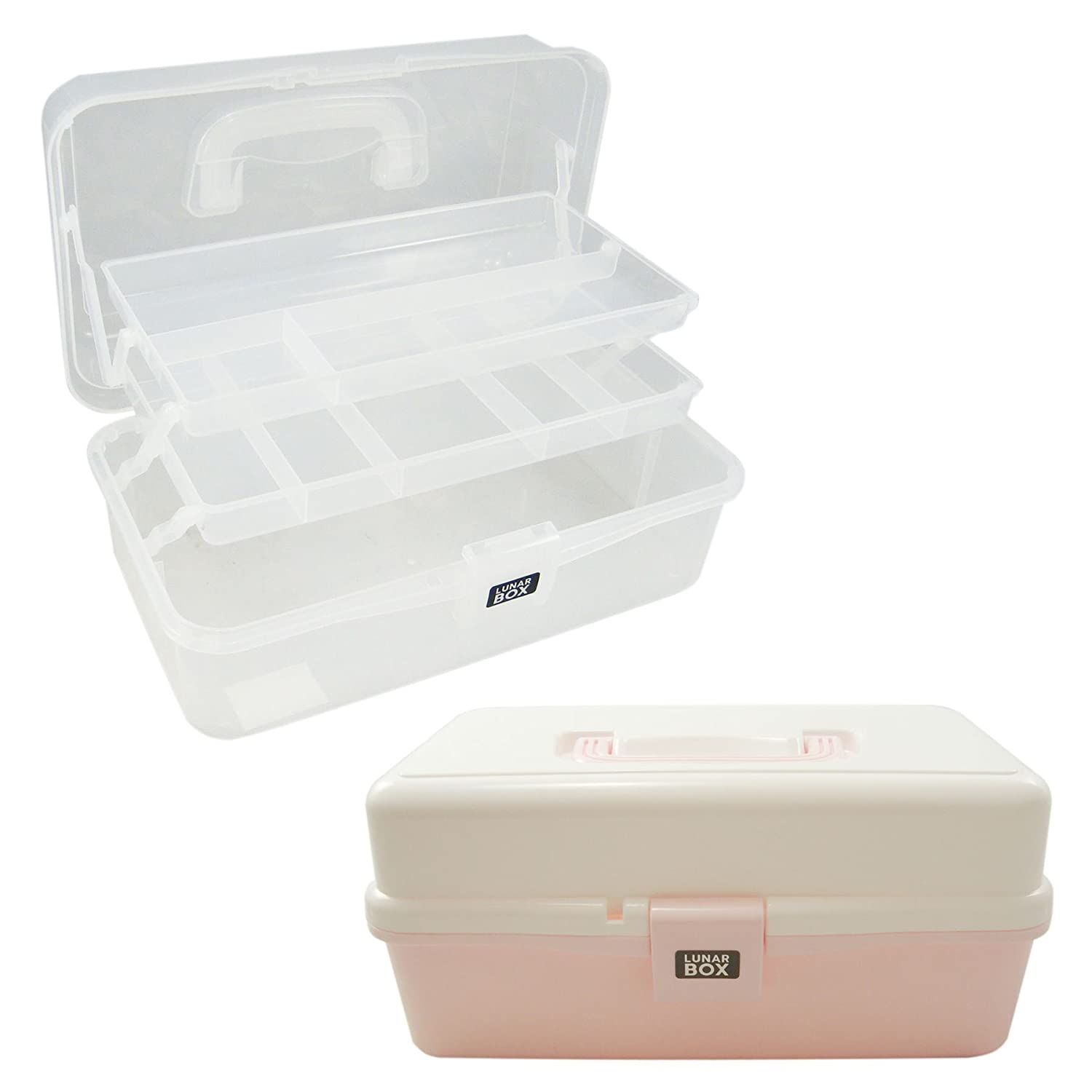 2 Tray Cantilever Arts Crafts /& Sewing box Clear Lunar Box /Ã/'/Â/® by Lunar Box Adjustable Compartments