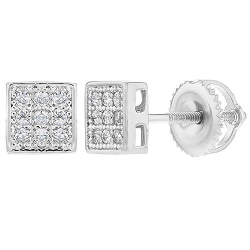 90b9793310a2 In Season Jewelry 925 Plata de Ley Circonita Clara Cuadrado Aretes con Cierre  de Rosca para Mujer 5mm  Amazon.es  Joyería