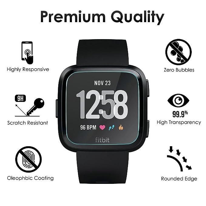 CAVN 3 Packs Compatible avec Fitbit Versa Protecteur décran en Verre Trempé Protecteur pour Versa Smart Montre [2.5 d Round Edge] [9H Dureté] [Cristal ...