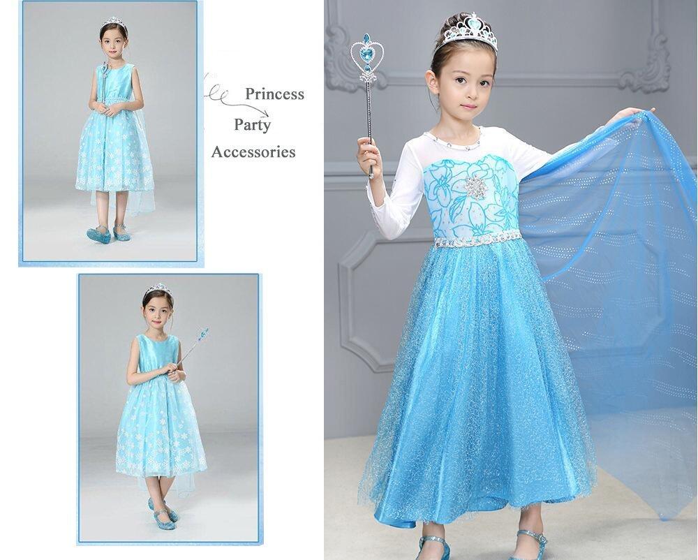 Amazon.com: Princess Elsa Dress up Party Accessories Blue Favors 4 ...