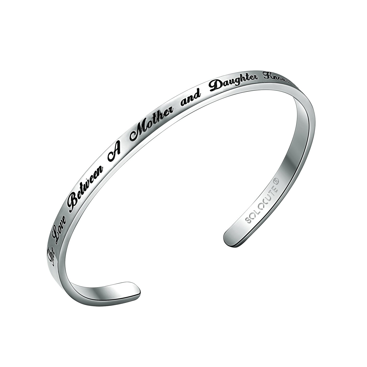 SOLOCUTE Cuff Bangle Bracelet EngravedThe Love Between A Mother and Daughter Knows No Distance Inspirational Jewelry SC023GD