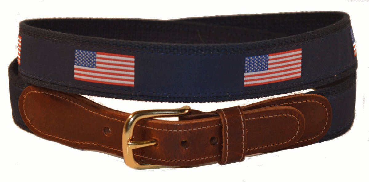 Preston Leather Boys Childrens Navy Blue American Flag Belt (24)