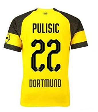 Lujfhd Mens Dortmund Pulisic Home Soccer Jersey 18-19 22 Football Jersey  Yellow( 315eee630