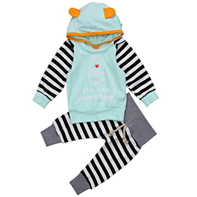 2 Piece Newborn Baby Boys Girls Hoodie with Ears and Pant Outfits Set Clothes