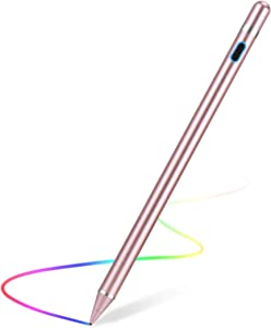 Stylus Pen for Touch Screens Rechargeable 1.5mm Fine Point Active Capacitive Stylus Smart Pencil Digital Compatible iPad and Most Tablet (Rose)
