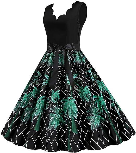 TU898TIE Damska A-Linie Kleid V-Ausschnitt Knielang Partykleid 1950er Vintage Retro Cocktailkleid Rockabilly Schwingen Faltenrock: Odzież