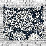 Sugar Skull Dia De Los Muertos Art Decoration, Bedroom Living Kids Girls Boys Room Dorm Accessories Wall Hanging Tapestry, 90X60 Inches