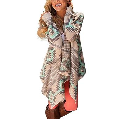 41c273dd4268 Womens Boho Knitted Cardigan Irregular Geometric Print Long Sleeve Top  Jumper Knitwear Sweater Coat  Amazon.co.uk  Clothing