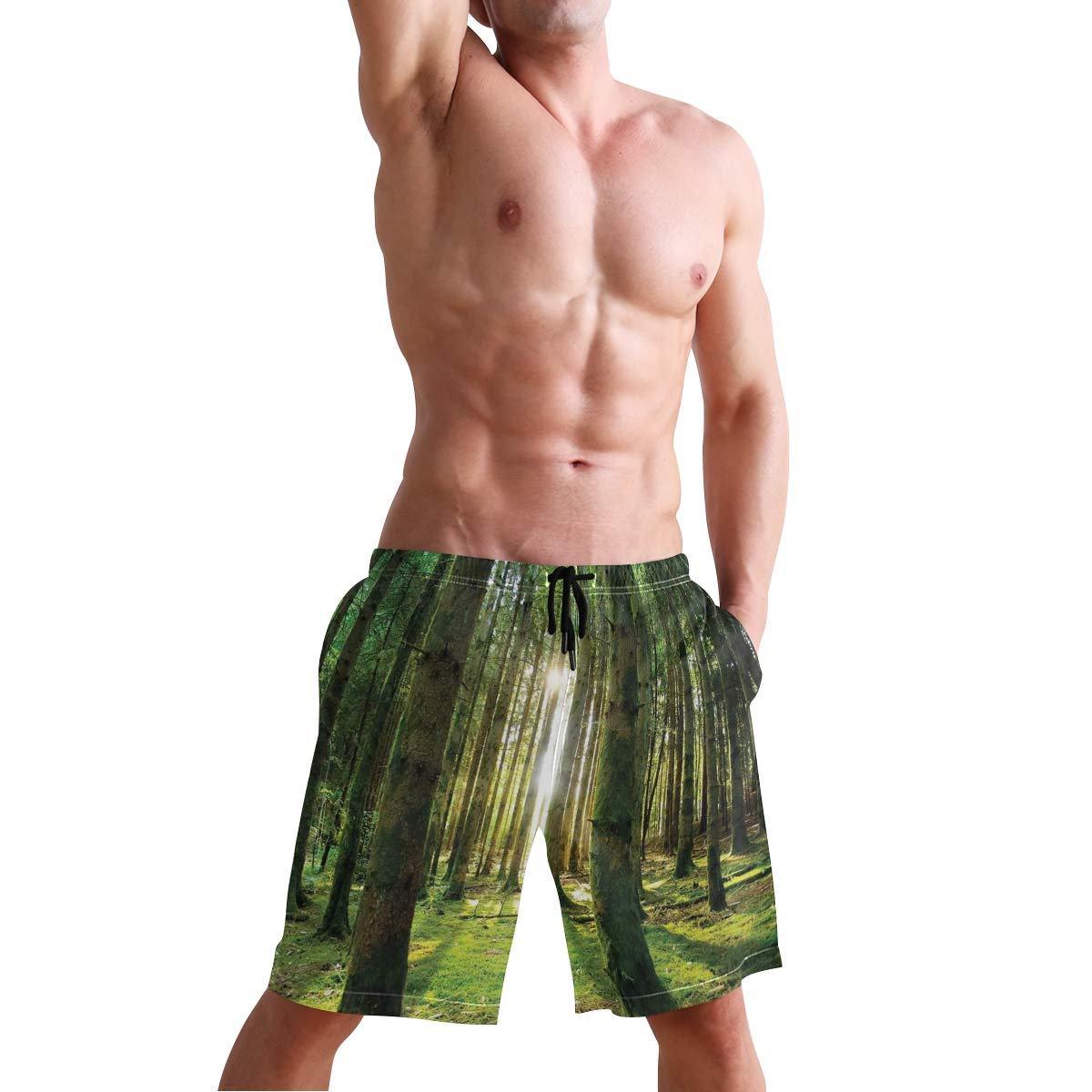 COVASA Mens Summer ShortsScenic Scenery with Sunbeams in The Forest Sunny Summ