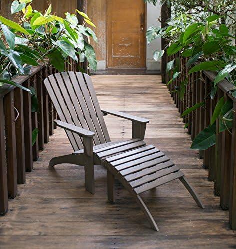 Cambridge Casual Solid Hardwood Renley Adirondack Chair with Ottoman, Weathered Grey